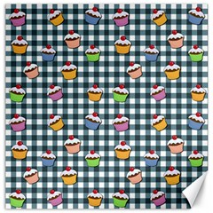 Cupcakes plaid pattern Canvas 12  x 12