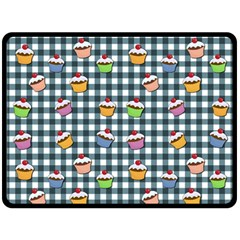 Cupcakes Plaid Pattern Double Sided Fleece Blanket (large)