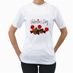 Valentine s day gift Women s T-Shirt (White) (Two Sided)