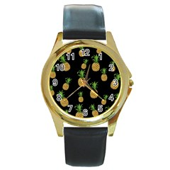 Pineapples Round Gold Metal Watch