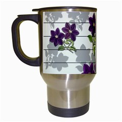 Purple vintage flowers Travel Mugs (White)