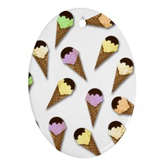 Ice cream pattern Oval Ornament (Two Sides)