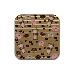 Coffee and donuts  Rubber Coaster (Square)