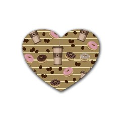 Coffee and donuts  Rubber Coaster (Heart)