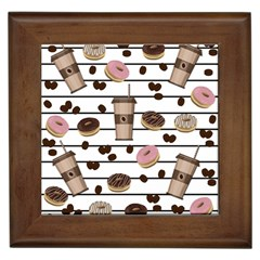 Donuts and coffee pattern Framed Tiles