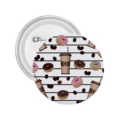 Donuts and coffee pattern 2.25  Buttons