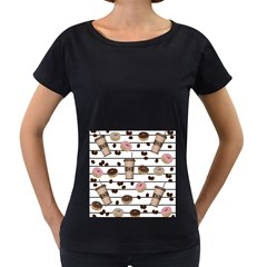 Donuts and coffee pattern Women s Loose-Fit T-Shirt (Black)
