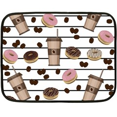 Donuts And Coffee Pattern Double Sided Fleece Blanket (mini)