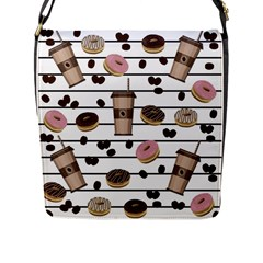 Donuts And Coffee Pattern Flap Messenger Bag (l)