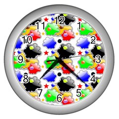 Pattern Background Wallpaper Design Wall Clocks (Silver)