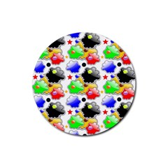 Pattern Background Wallpaper Design Rubber Coaster (Round)