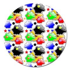 Pattern Background Wallpaper Design Magnet 5  (round)