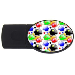 Pattern Background Wallpaper Design USB Flash Drive Oval (1 GB)