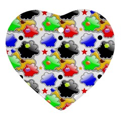 Pattern Background Wallpaper Design Heart Ornament (Two Sides)