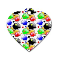 Pattern Background Wallpaper Design Dog Tag Heart (Two Sides)