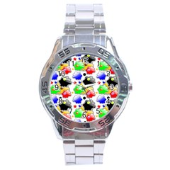 Pattern Background Wallpaper Design Stainless Steel Analogue Watch