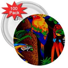 Parrots Aras Lori Parakeet Birds 3  Buttons (100 Pack)