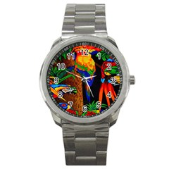 Parrots Aras Lori Parakeet Birds Sport Metal Watch