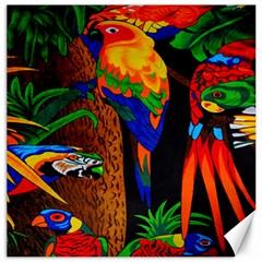 Parrots Aras Lori Parakeet Birds Canvas 16  x 16