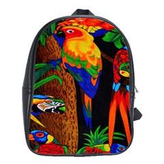 Parrots Aras Lori Parakeet Birds School Bags (XL)