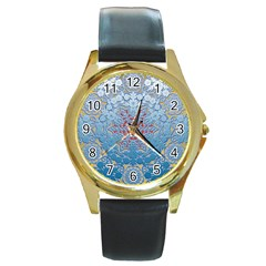Pattern Background Pattern Tile Round Gold Metal Watch