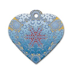 Pattern Background Pattern Tile Dog Tag Heart (Two Sides)