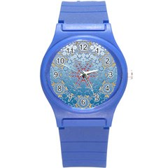 Pattern Background Pattern Tile Round Plastic Sport Watch (S)