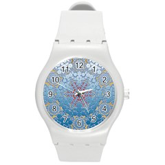 Pattern Background Pattern Tile Round Plastic Sport Watch (M)