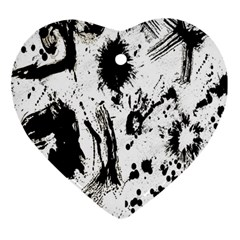 Pattern Color Painting Dab Black Ornament (Heart)