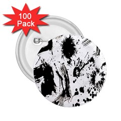 Pattern Color Painting Dab Black 2 25  Buttons (100 Pack)