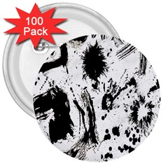 Pattern Color Painting Dab Black 3  Buttons (100 pack)