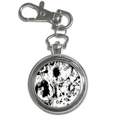 Pattern Color Painting Dab Black Key Chain Watches