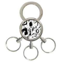Pattern Color Painting Dab Black 3-Ring Key Chains