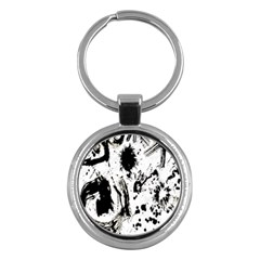 Pattern Color Painting Dab Black Key Chains (Round)