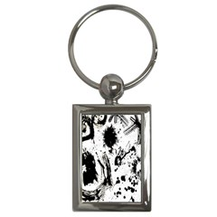 Pattern Color Painting Dab Black Key Chains (rectangle)