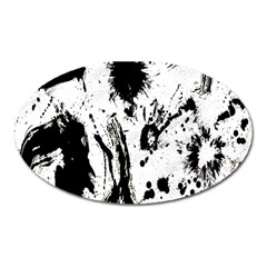 Pattern Color Painting Dab Black Oval Magnet