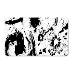 Pattern Color Painting Dab Black Magnet (Rectangular)