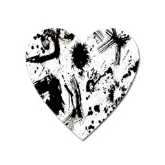 Pattern Color Painting Dab Black Heart Magnet