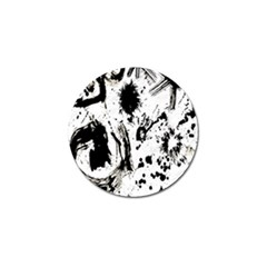 Pattern Color Painting Dab Black Golf Ball Marker (4 Pack)