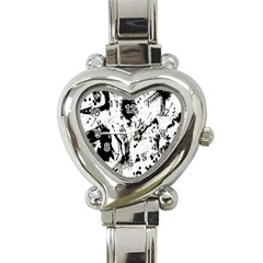 Pattern Color Painting Dab Black Heart Italian Charm Watch