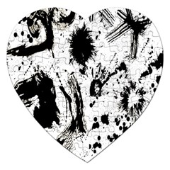 Pattern Color Painting Dab Black Jigsaw Puzzle (heart)