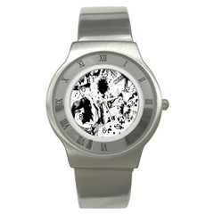 Pattern Color Painting Dab Black Stainless Steel Watch