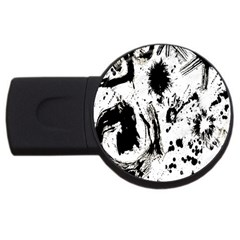 Pattern Color Painting Dab Black Usb Flash Drive Round (4 Gb)