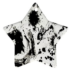 Pattern Color Painting Dab Black Star Ornament (Two Sides)