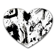 Pattern Color Painting Dab Black Heart Mousepads