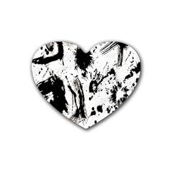 Pattern Color Painting Dab Black Rubber Coaster (heart)