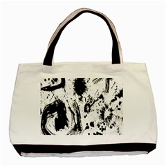 Pattern Color Painting Dab Black Basic Tote Bag (Two Sides)