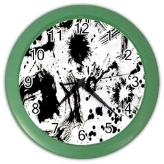 Pattern Color Painting Dab Black Color Wall Clocks