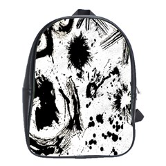 Pattern Color Painting Dab Black School Bags(Large)