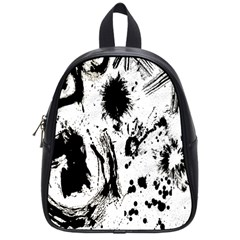 Pattern Color Painting Dab Black School Bags (Small)